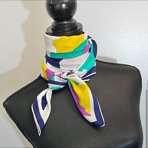 Square Silk Scarf Abstract Print Hand Rolled Edge